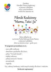 "Plakat promujący Piknik Rodzinny ""Mama, Tata i Ja"" 2019"